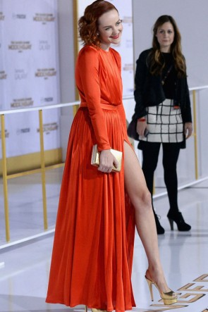 Jena Malone Orange Red Evening Dress 'The Hunger Games Mockingjay – Part 1′ LA Premiere