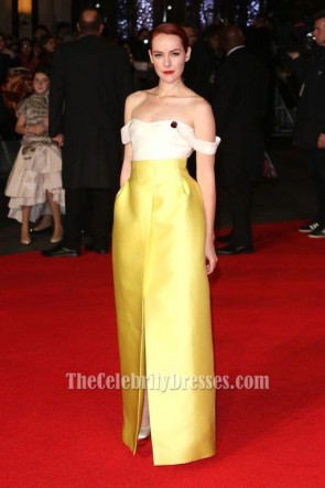 Jena Malone Ivory And Yellow Evening Dress'The Hunger Games Mockingjay – Part 1′ London Premiere