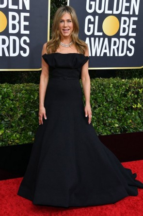 Jennifer Aniston Black Strapless Ball Gown 2020 Golden Globes