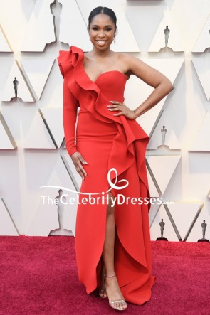 Jennifer Hudson Orange Red One-shoulder Ruffled Evening Dress Oscars 2019