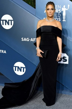 Jennifer Lopez Black Off-the-shoulder Formal Dress 2020 SAG Awards