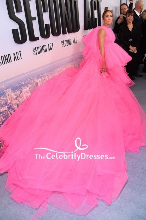 Jennifer Lopez Hot Pink High Low Princess Gown Premiere Of Second Act