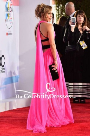 Jennifer Lopez Hot Pink V-neck Thigh-high Slit Evening Dress 2018 American Music Awards TCD8093