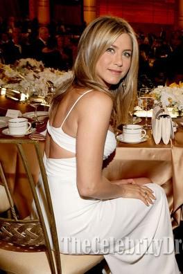 Jennifer Aniston White Prom Dress 40th AFI Life Achievement Award honoring Shirley MacLaine