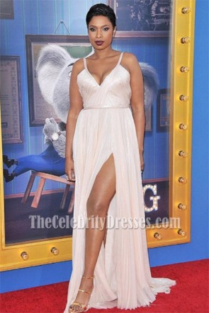 Jennifer Hudson White Spaghetti Strap Evening Prom Gown Premiere of 'Sing' TCD7021
