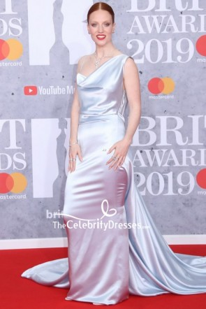 Jess Glynne Silver Sheath Evening Dress BRIT Awards 2019 Red Carpet
