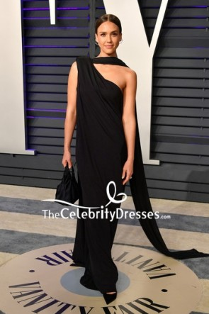 Jessica Alba Black One-shoulder Column Evening Dress 2019 Vanity Fair Oscar part