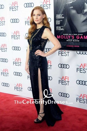 Jessica Chastain Black Sequins Thigh-high Slit Evening Dress 2017 AFI FEST Closing Night Gala TCD7587