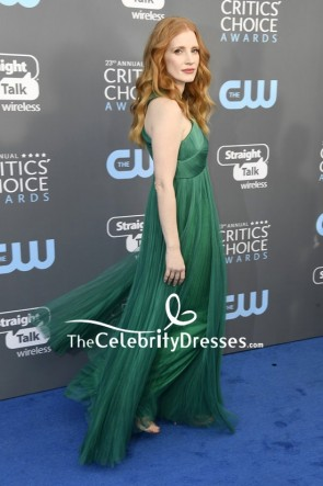 Jessica Chastain Green Cut Out A-line Evening Prom Dress 2018 Critics' Choice Awards Red Carpet TCD7676