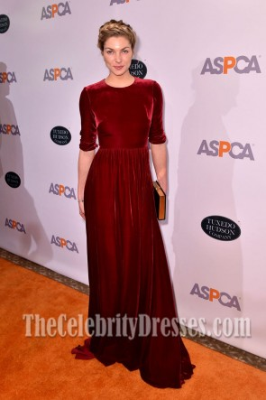 Jessica Hart Burgundy Backless Evening Dress 20th Annual Bergh Ball