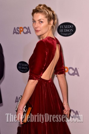 Jessica Hart Burgundy Backless Evening Dress 20th Annual Bergh Ball  TCD7226