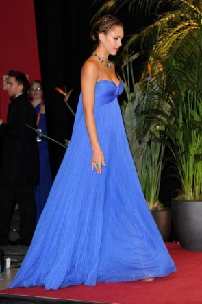 Jessica Alba Blue Formal Prom Evening Dress 2011 BAFTA Awards