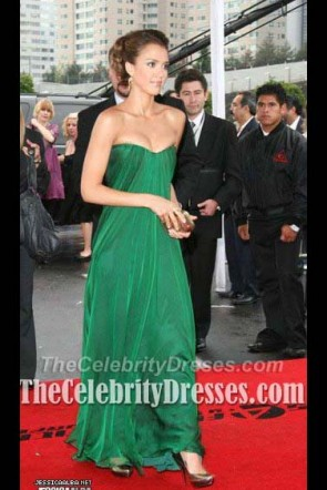 Jessica Alba Green Chiffon Formal Prom Dress Red Carpet