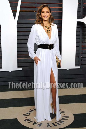 Jessica Alba White Long Sleeves High-slit Evening Dress Vanity Fair Oscar Party 2016 1