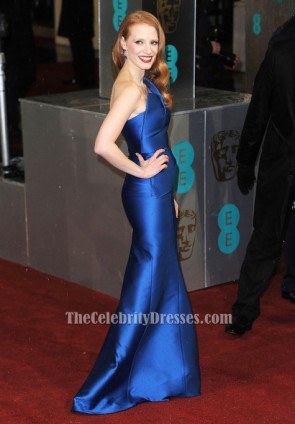 Jessica Chastain Royal Blue One Shoulder Formal Dress BAFTAs 2013 TCD6148