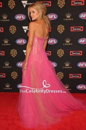 Jessie Murphy Pink Strapless Thigh-high Slit Evening Dress 2018 Brownlow Medal