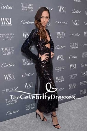 Joan Smalls Black Sequins Evening Dress With Long Sleeves WSJ. Magazine 2017 Innovator Awards TCD7568