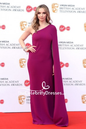 Jodie Comer Purple One Shoulder Sheath Evening Dress 2019 Virgin Media British Academy Television Awards