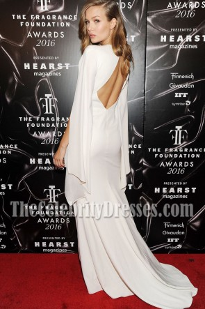 Josephine Skriver Figure-hugging White Backless Slit Prom Gown 2016 Fragrance Foundation Awards TCD7080