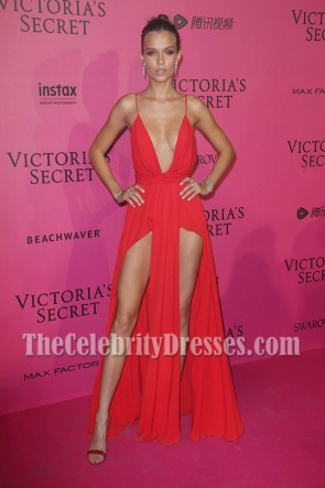 Josephine Skriver Red Spaghetti Strap Evening Dress 2016 Victoria's Secret Fashion Show