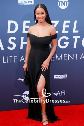 Joy Bryant Black Off-the-Shoulder Slit Evening Dress AFI Life Achievement Award Gala 2019