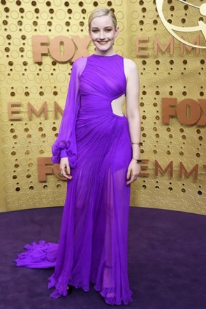 Julia Garner Purple One-Sleeve Cutout Dress 2019 Emmy Awards