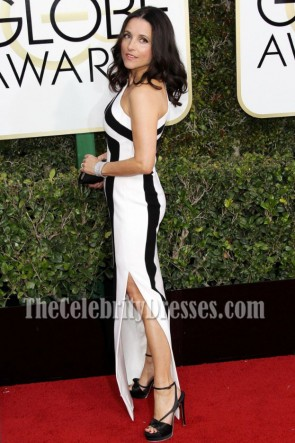 Julia Louis-dreyfus White And Black One-shoulder Evening Dress 2017 Golden Globe Awards TCD7124