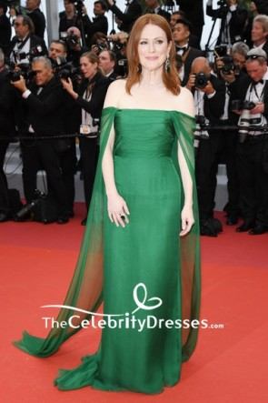 Julianne Moore Off-the-Shoulder Chiffon Strapless Green Evening Dress Cannes Film Festival Opening Ceremony 2019