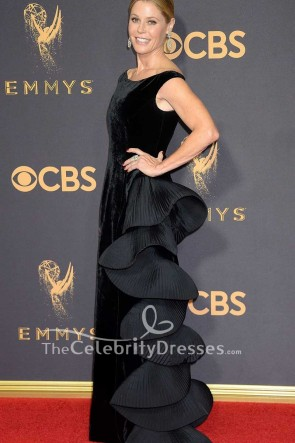 Julie Bowen Black Velvet Ruffled Evening Dress 2017 Emmy Awards Red Carpet Gown TCD7535