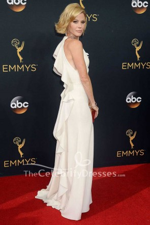 Julie Bowen White Ruffled Long Evening Formal Dress 2016 Emmy Awards Red Carpet Gown TCD7539