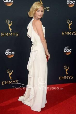 Julie Bowen White Ruffled Long Evening Formal Dress 2016 Emmy Awards Red Carpet Gown TCD7539
