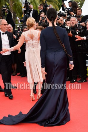 Juliette Binoche Navy Long Sleeves Evening Prom Gown 69th annual Cannes Film Festival TCD7078