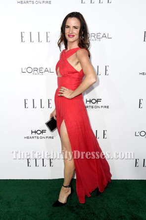 Juliette Lewis Red Chiffon High Slit Evening Dress 23rd Annual Elle Women TCD7030