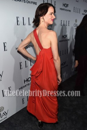 Juliette Lewis Red One-shoulder Evening Prom Gown Elle Women Red Carpet Dress TCD7033