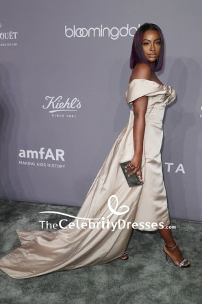 Justine Skye Off-the-shoulder High Low Evening Dress 2018 amfAR Gala New York TCD7733
