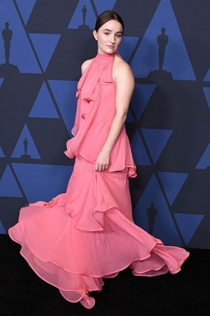 Kaitlyn Dever Blushing Pink Halter Dress 2019 Governors's Awards