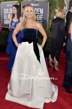Kaley Cuoco Dark Navy And White Strapless Formal Dress 2019 Golden Globes