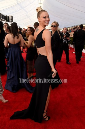 Kaley Cuoco Black One Shoulder Evening Formal Dress 22nd Screen Actors Guild Awards TCD6800
