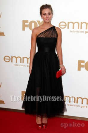 Kaley Cuoco Black One Shoulder Prom Dress Emmy Awards 2011 Red Carpet