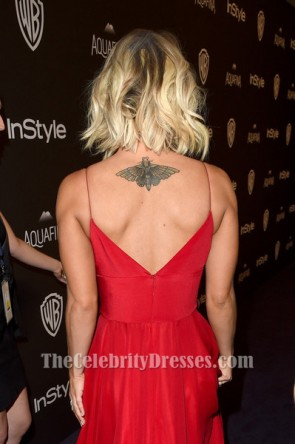 Kaley Cuoco Red Evening Gown 2016 Golden Globe Awards Post-Party Dress TCD6506