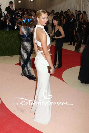 Karlie Kloss Sexy White Cut Out Sheath Formal Evening Dress Met Gala 2016 Red Carpet TCD7604