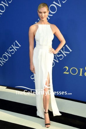 Karlie Kloss White Thigh-high Slit Column Dress 2018 CFDA Fashion Awards