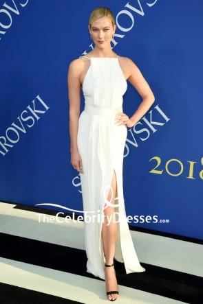 Karlie Kloss White Thigh-high Slit Column Dress 2018 CFDA Fashion Awards