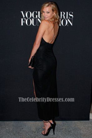 Karlie Kloss Black Backless Evening Dress 2014 Vogue Foundation Gala TCD6882