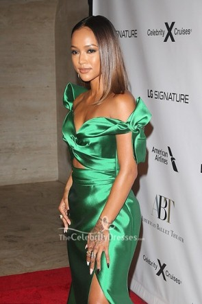 Karrueche Tran Green Cutout  Dress 2019 Fall Gala TCD8699