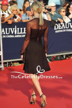 Kate Bosworth Little Black Dress With Long Sleeves 2011 Deauville Film Festival Opening Ceremony TCD7725