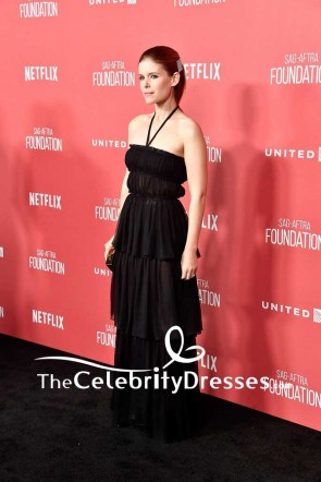 Kate Mara Black Chiffon Halter Strapless Evening Dress SAG-AFTRA Foundation Patron of the Artists Awards Red Carpet TCD7575