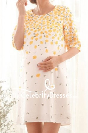 Kate Middleton Maternity Print Floral Short Summer Dress TCD7912