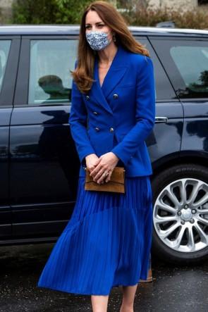 Kate Middleton 2021 Blue Blazer + Midi Skirt
