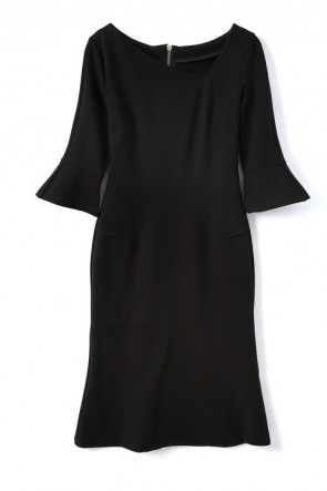 Kate Middleton Black Cocktail Dress With Sleeves Royal Festival of Remembrance TCD8300